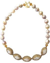 Farra - Golden Rhinestone & Orange Pearl Necklace - Lyst