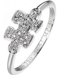 Akillis Puzzle White Gold With White and Black Diamonds Ring - UK K 1/2 - US 5 3/8 - EU 51 zNv8PH