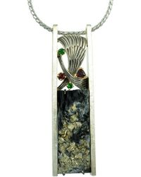 Alex Gulko Custom Jewelry - Pyrite Pendant With Red And Green Garnets - Lyst