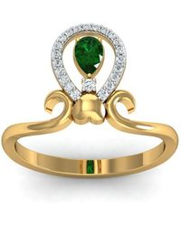 Diamoire Jewels - 18kt Yellow Gold Pave 0.20ct Diamond Infinity Ring With Emerald - Lyst
