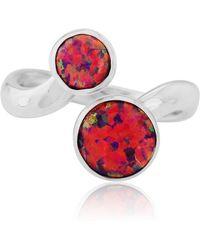Lavan - Silver Two Red Opal Ring - Lyst