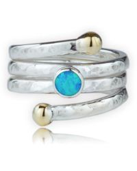 Lavan 9kt Gold & Sterling Silver Coil Ring With Blue Opal - UK K 1/2 - US 5 3/8 - EU 50 3/4 YW0aDrMR