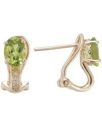 Lali Jewels - 14kt Yellow Gold Diamond And Peridot Earring - August Birthstone - Lyst