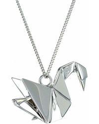 Origami Jewellery Titanium Black Silver Swan Necklace ijzcW