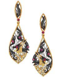Chekotin Jewellery - Gold, Diamond & Ruby Fire Element Dragon Drop Earrings | - Lyst