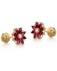 SILVER YULAN - Marquise Cut Ruby Flower Studs - Lyst