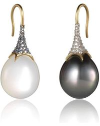 Anahita Jewelry - 18kt Yellow Gold Reverse Set Pave Pearl And Moonstone Earrings - Lyst