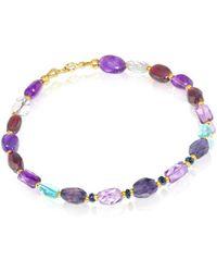 Regenz - Gold Sparkling Line Multi-gemstone Bracelet - Lyst