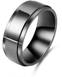 KAVALRI - Black Zirconium Bevelled Wedding Ring - Lyst