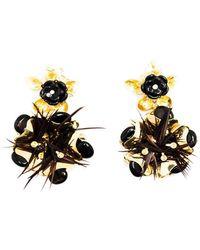 Pats Jewelry - Brass & Black Onyx Glossy Camellia Earrings - Lyst