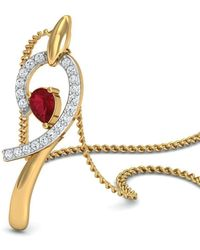 Diamoire Jewels - Diamond And Pear Cut Ruby Pendant Hand-carved From 18kt Yellow Gold - Lyst
