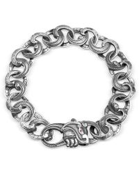 Suciyan - Wide Dragon Knot Diamond And Ruby Sterling Silver Bracelet - Lyst
