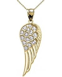 QP Jewellers - Diamond Angel Wing Pendant Necklace In 9kt Gold - Lyst