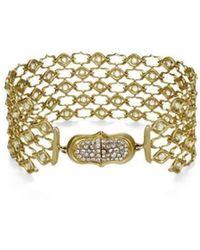 Anahita Jewelry - 18kt Yellow Gold And Diamond Weave Pattern Bracelet - Lyst