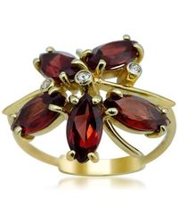 Drukker Designs - Yellow Gold Orchid Garnet Ring - Lyst