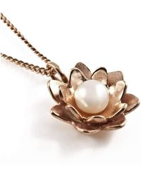 Vicky Davies - Sterling Silver & 18kt Rose Gold Lotus Pearl Pendant Necklace - Lyst