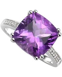Amore Argento - Rhodium Plated Sterling Silver Vivacious Violet Ring - Lyst