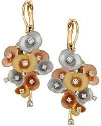 Chekotin Jewellery - Gold & Diamond Bouquet Of Flowers Eden Drop Earrings | - Lyst