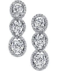 Harry Kotlar - Kotlar Cushion Three-stone Pave Drop Earrings - Lyst