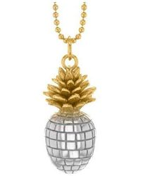 True Rocks - Large Yellow Gold And Silver Pineapple Pendant - Lyst