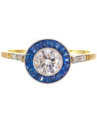 Alexis Danielle Jewelry - Original Art Deco Diamond Sapphire 18kt Yellow Gold Platinum Ring - Lyst