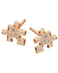 Akillis - Mini Puzzle Pink Gold With Diamonds Clip Earrings - Lyst