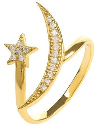 LÁTELITA London - Yellow Gold Plated Moon & Star Ring With White Cubic Zirconia - Lyst