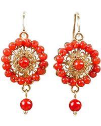 Luis Mendez Artesanos - 18kt Gold & Coral Rose Dangle Earrings - Lyst