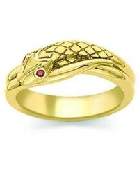 London Road Jewellery - Kew Serpent Yellow Gold Ruby Ring - Lyst