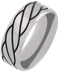 Prism Design - Titanium And Black Rope Ring (8mm) - Lyst