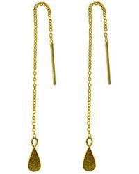 Murkani Jewellery - Gold Tear Drop Thread Earrings - Lyst
