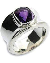 Will Bishop Gold Vermeil, Amethyst & Cubic Zirconia Three Band Ring - UK G - US 3 3/8 - EU 45 1/4
