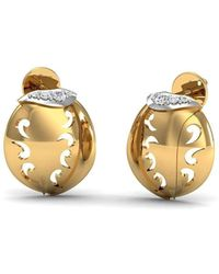 Diamoire Jewels - Hand-carved 18kt Yellow Gold And Premium Diamond Pave Earrings - Lyst