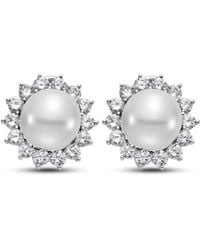 Isaac Westman - 14kt White Gold South Sea Pearl And Diamond Earrings - Lyst