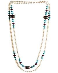 M's Gems by Mamta Valrani - Magnifique Pearl Necklace With Rubies, Turquoise And Beads - Lyst