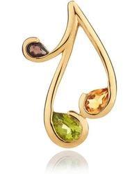 MANJA Jewellery - Tana Gold Peridot, Citrine & Smoky Quartz Pendant - Lyst