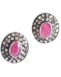M's Gems by Mamta Valrani - Elegance Earrings With Diamonds And Ruby - Lyst