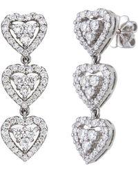 Aara Designer Jewelry - 18kt White Gold & Diamond Queen Of Hearts Earrings - Lyst