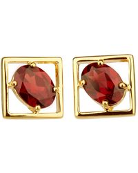 Carolin Stone Jewelry 14kt Yellow Gold Plated Sterling Silver Red Garnet Charming Small Earrings - Metallic