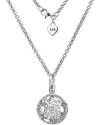 Lily and Lotty - Chloe Silver & Diamond Openwork Ball Necklace - Lyst
