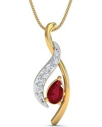 Diamoire Jewels - Premium Quality Diamonds And Ruby Pendant Nature Inspired In 10kt Yellow Gold - Lyst