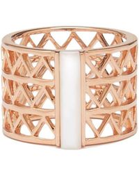 Alexandra Alberta - Rose Gold Plated Guggenheim Ring With Rose Pearl - Lyst