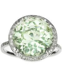 Oh my Christine Jewelry - Round Green Amethyst Diamond Halo Ring - Lyst