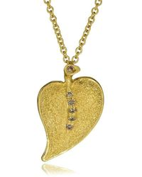 Alex Soldier | Champagne Diamonds And Yellow Gold Leaf Pendant | Lyst