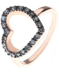 LÁTELITA London - Diamond Open Heart Ring Rose Gold - Lyst