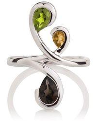 MANJA Jewellery - Tana - Peridot Citrine And Smoky Quartz Ring - Lyst