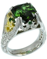 Alex Gulko Custom Jewelry - Green Tourmaline Ring White And Yellow Gold - Lyst
