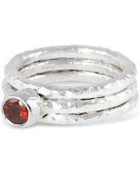 Paul Magen - Sterling Silver & Garnet Tribus Stack Ring   - Lyst