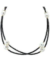 Elisa Ilana Jewelry - Yellow Gold, Pearl & Black Cz Necklace | - Lyst