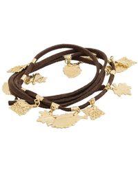 Amazona Secrets - Leather 3 Lap Bracelet With 18kt Gold Savannah Leaves - Lyst